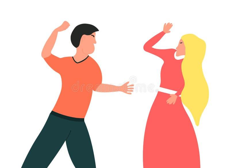 Violencia en familia El marido quiere perforar a su esposa El individuo quiere golpear su ejemplo del vector de la muchacha ilustración del vector