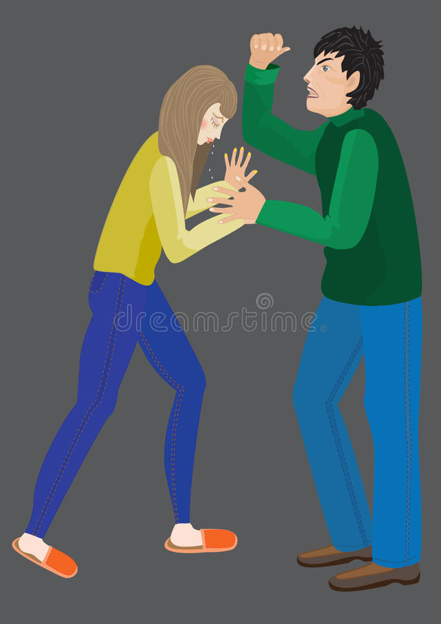 Violencia familiar, violencia en el hogar stock de ilustración