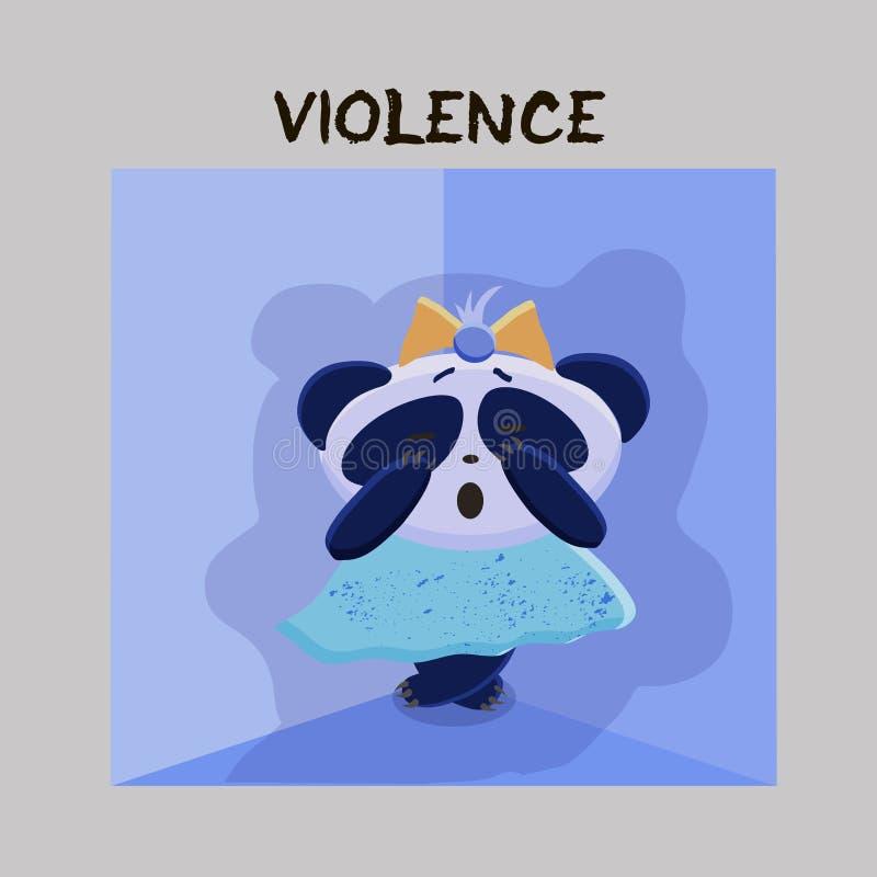 violencia Problema de salud mental Pequeña panda asustada, sujetada stock de ilustración