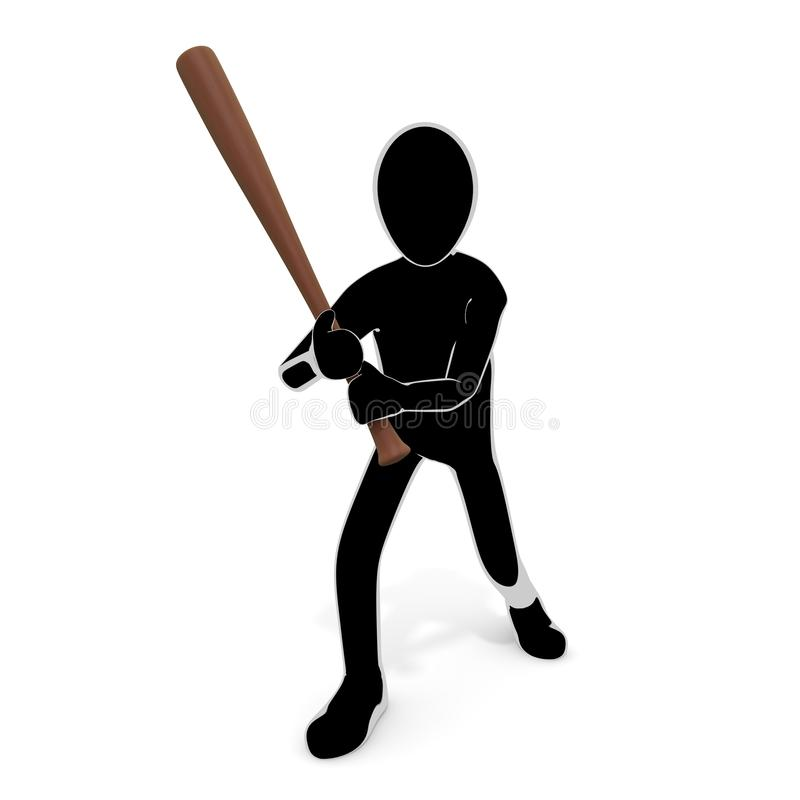 3D illustration Hold the bat and attack it. Violent person. Attack others. To chase injury. A person who breaks things. Destroy objects. Commit a crime. Enjoy stock illustration
