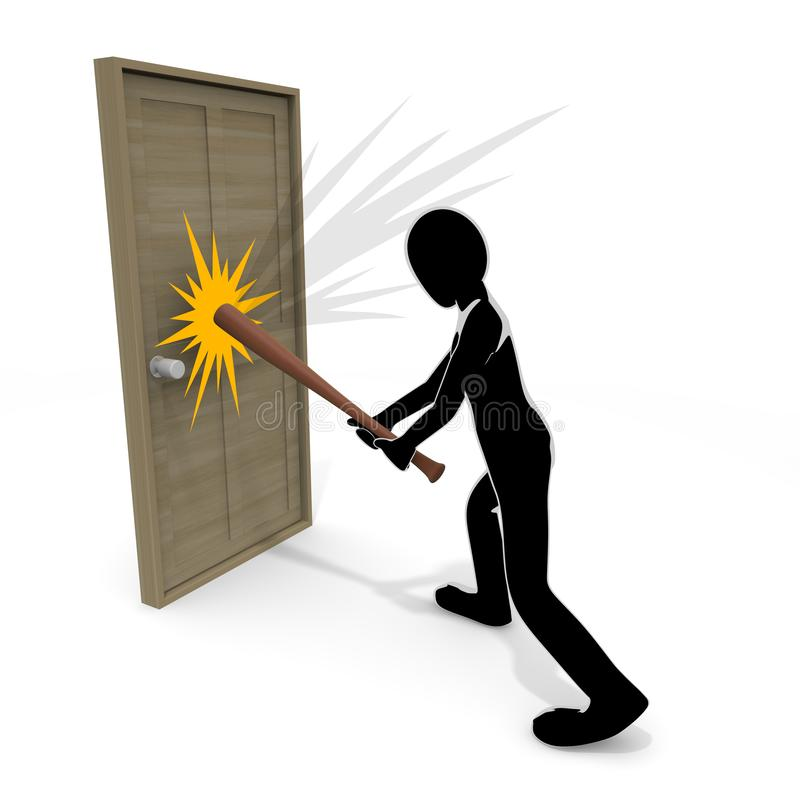 3D illustration Person who breaks the bat to the door. Violent person. Attack others. To chase injury. A person who breaks things. Destroy objects. Commit a royalty free illustration