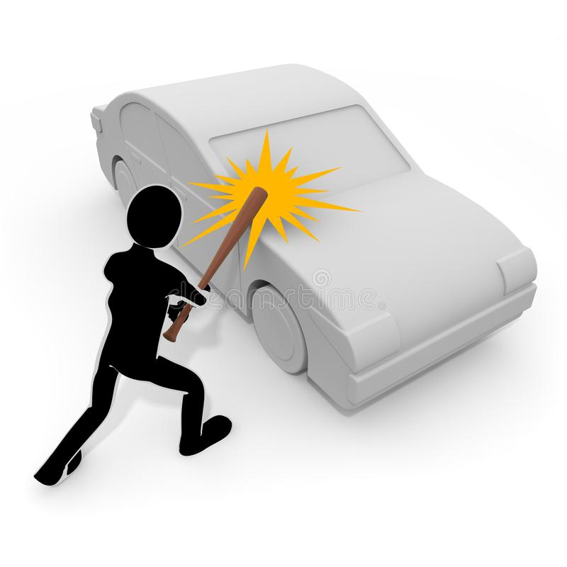 3D illustration A person who destroys a car with a bat. Violent person. Attack others. To chase injury. A person who breaks things. Destroy objects. Commit a royalty free illustration