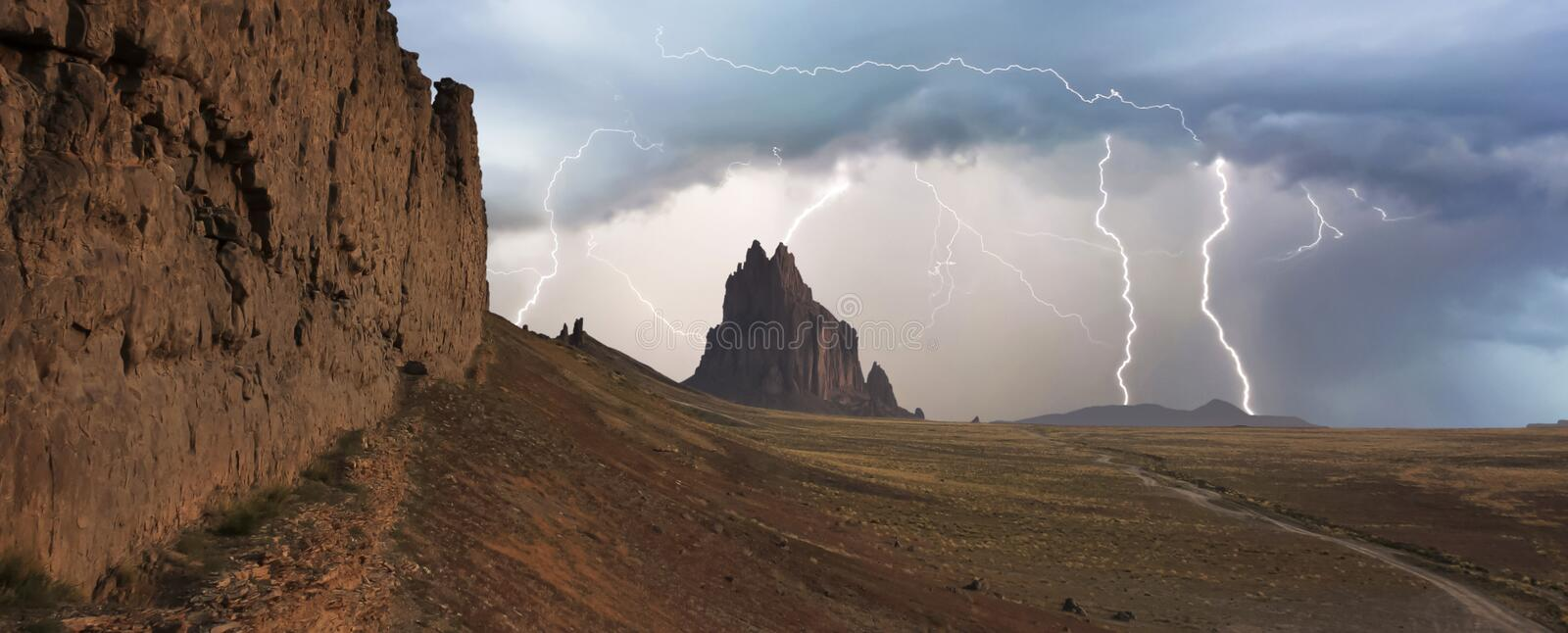 A Violent Thunderstorm at Shiprock, New Mexico stock image