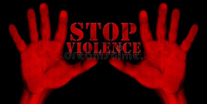 Violenza di arresto - mani rosse immagine stock libera da diritti