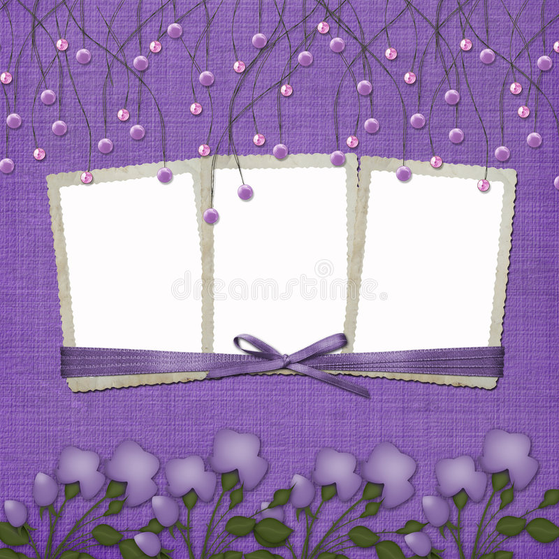 Violet abstract background with suspended beads. And frames vector illustration
