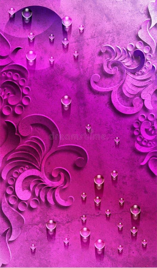 Violet Abstract bakgrund med vattendroppe royaltyfri illustrationer
