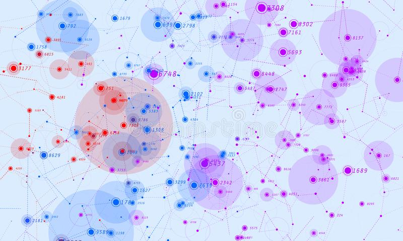 Violet abstract 3D big data visualization. Intricate financial data threads analysis. Business analytics representation vector illustration