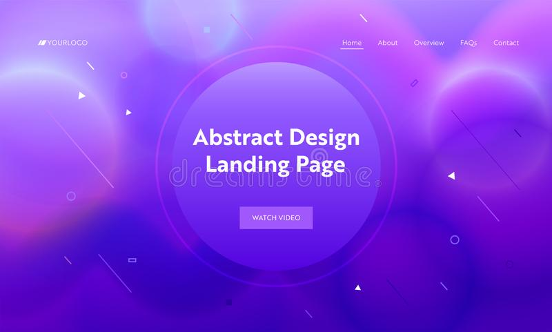 Violet Abstract Geometric Round Shape Landing Page Background. Trendy Minimalistic Motion Gradient Pattern stock illustration