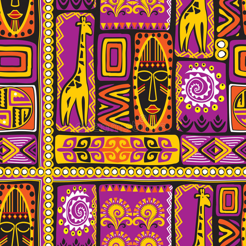 Violet afrikan patroon stock illustratie