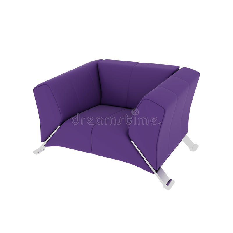 Violet armchair on a white background royalty free stock photography