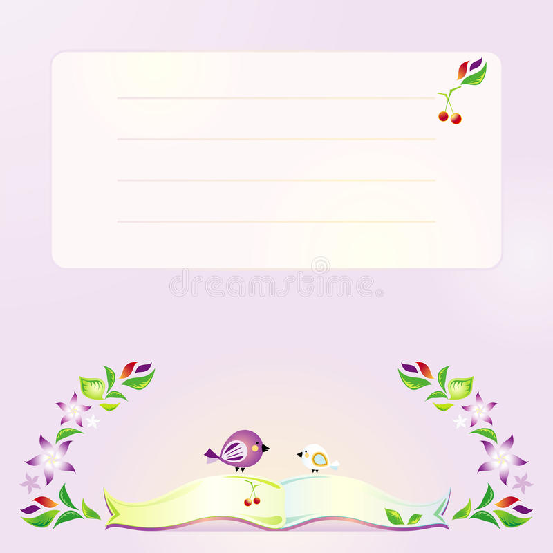 Violet background with the book, birds and flowers stock photography