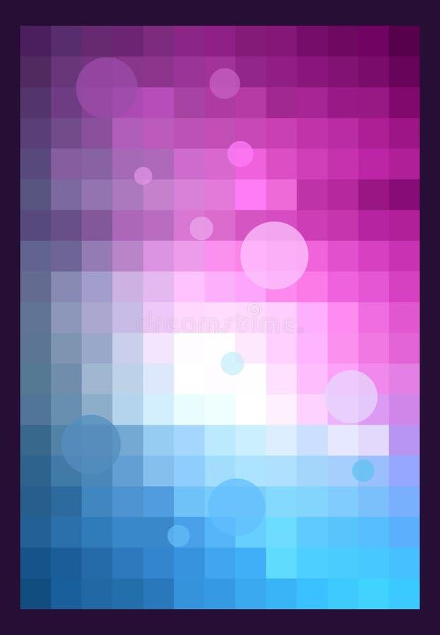 Violet background. Pixels and circles stock illustration