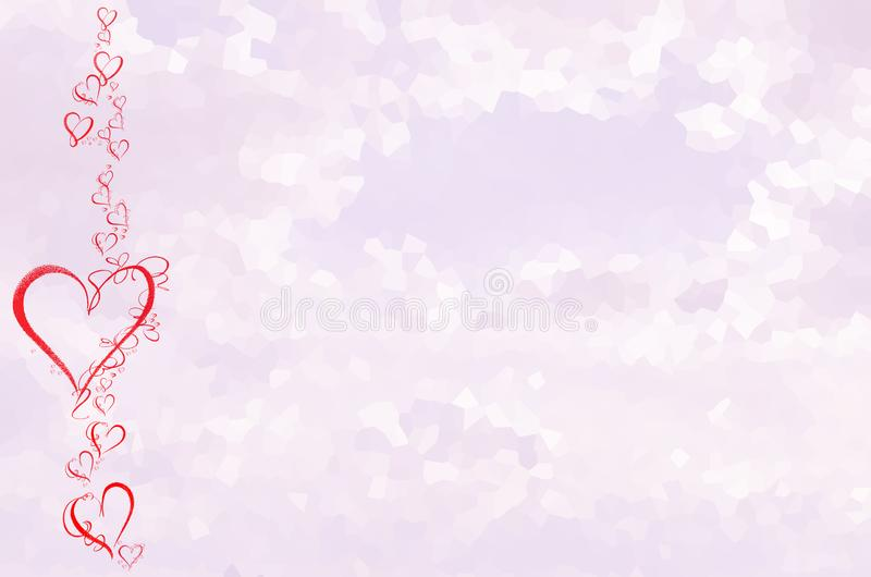 Violet Background with Red Color Hearts. Violet Cristal Background with Red Color Hearts. Abstract Texture for Valentines Day and Mothers Day stock illustration