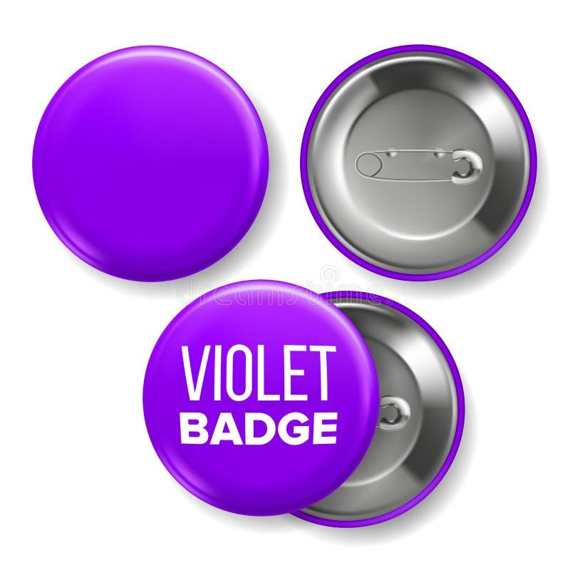 Violet Badge Mockup Vector. Pin Brooch Violet Button Blank. Two Sides. Front, Back View. Branding Design 3D Realistic royalty free illustration