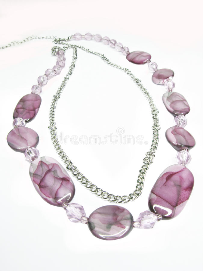 Download Violet Beads With Silvery Chain Stock Image - Image: 12889923