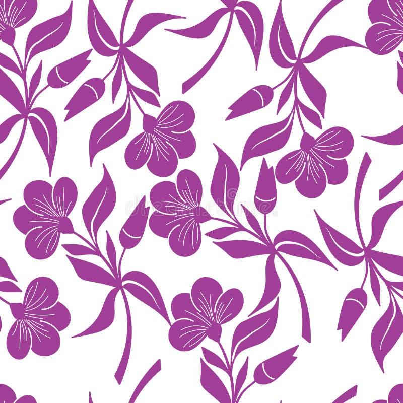 Violet bloemen naadloos patroon Het hand getrokken patroon van de fantasiebloem stock illustratie