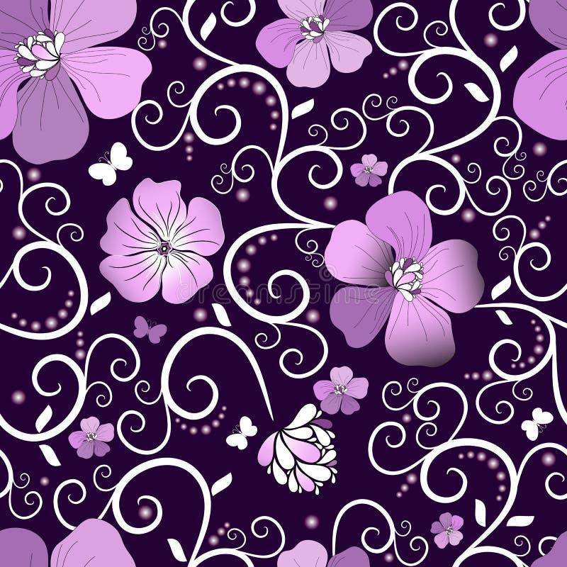 Violet bloemenpatroon royalty-vrije illustratie