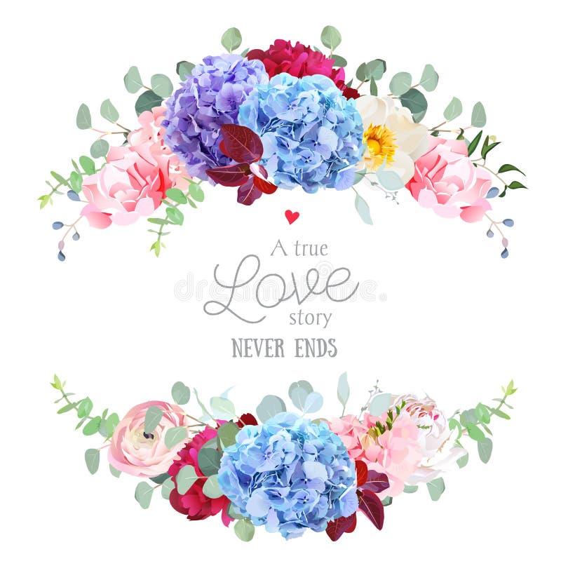Violet, blue and purple hydrangea, pink rose, ranunculus, carnat. Ion, burgundy red peony flower, eucalyptus and greenery vector design round frame. Wedding card vector illustration