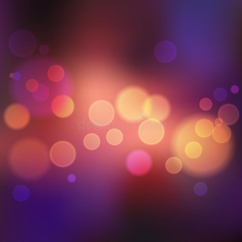 Violet blurred background with lights and bokeh royalty free illustration
