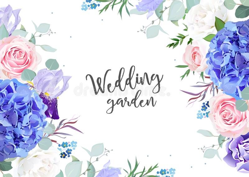Violet botanical vector design banner. Blue hydrangea, white and pink rose, forget me nots,iris flowers, eucalyptus and herbs.Natural card or frame.Floral vector illustration