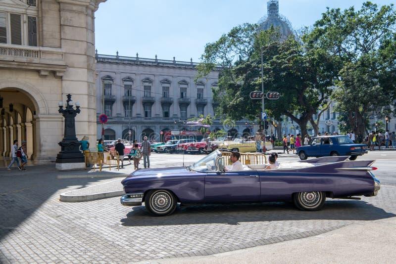 Violet Cadillac, convertible vintage classic car, Habana, Cuba stock photography