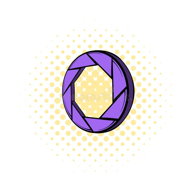 Violet camera aperture icon, comics style. Violet camera aperture icon in comics style on a white background stock illustration