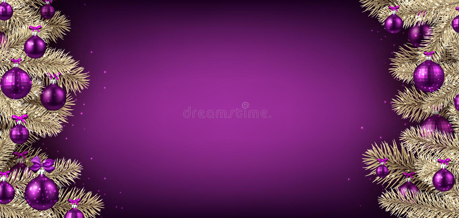 Violet Christmas background with spruce branches. stock illustration