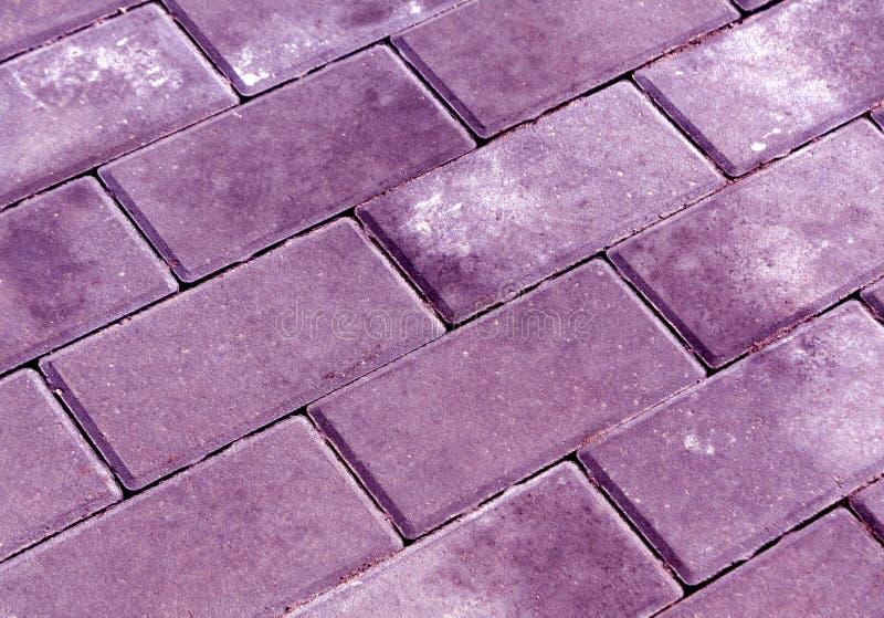 Violet color cobblestone pavement texture. stock photos