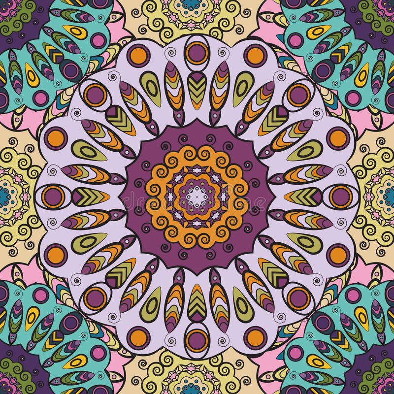 Violet colored seamless pattern with eastern floral orament. Floral oriental design in aztec, turkish, pakistan, indian vector illustration