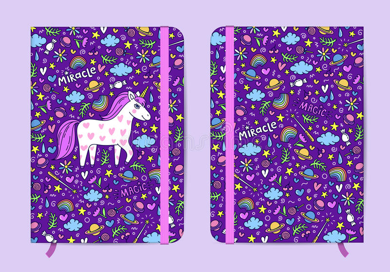 Violet copybook template with elastic band and bookmarh royalty free illustration