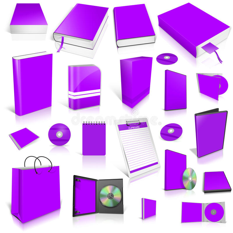 Violet 3d blank cover collection. Isolated on white vector illustration