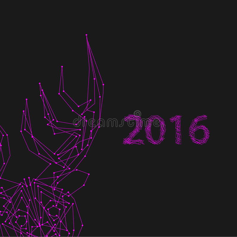 Violet deer on grey. Art creative new year winter holiday wallpaper vector illustration greeting card of one violet deer with antlers and 2016 numbers on grey royalty free illustration
