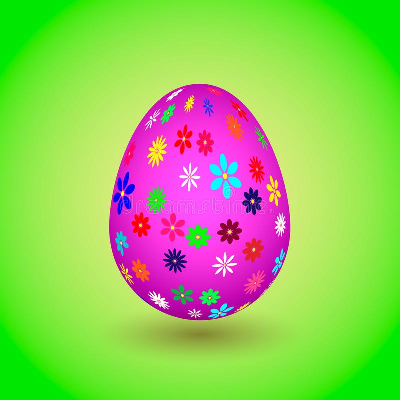Violet Easter Egg with colorful flowers. eps10 stock image