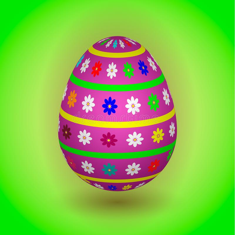 Violet Easter Egg with Flowers stock image