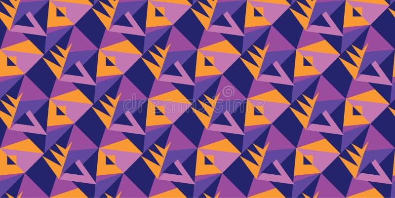 Violet en oranje geometrisch vormen naadloos patroon stock illustratie