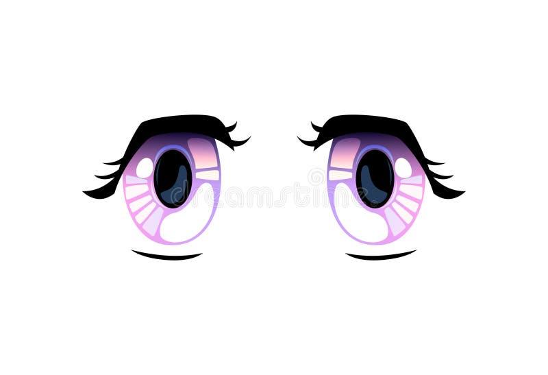 Violet Eyes brillante, ojos hermosos con los reflejos de luz Manga Japanese Style Vector Illustration stock de ilustración