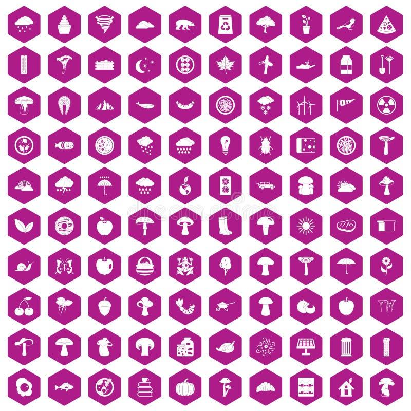 violet för sexhörning för 100 champinjonsymboler royaltyfri illustrationer
