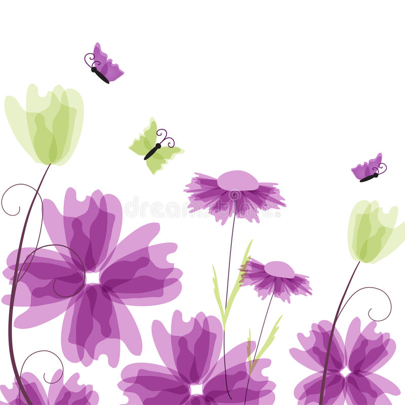 Violet floral background royalty free illustration