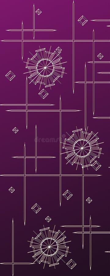 Violet Floral Background ocidental, neve, flor, estrelas ilustração do vetor
