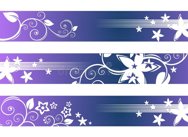 Violet floral pattern. Stylized violet floral pattern strips on a white background stock illustration