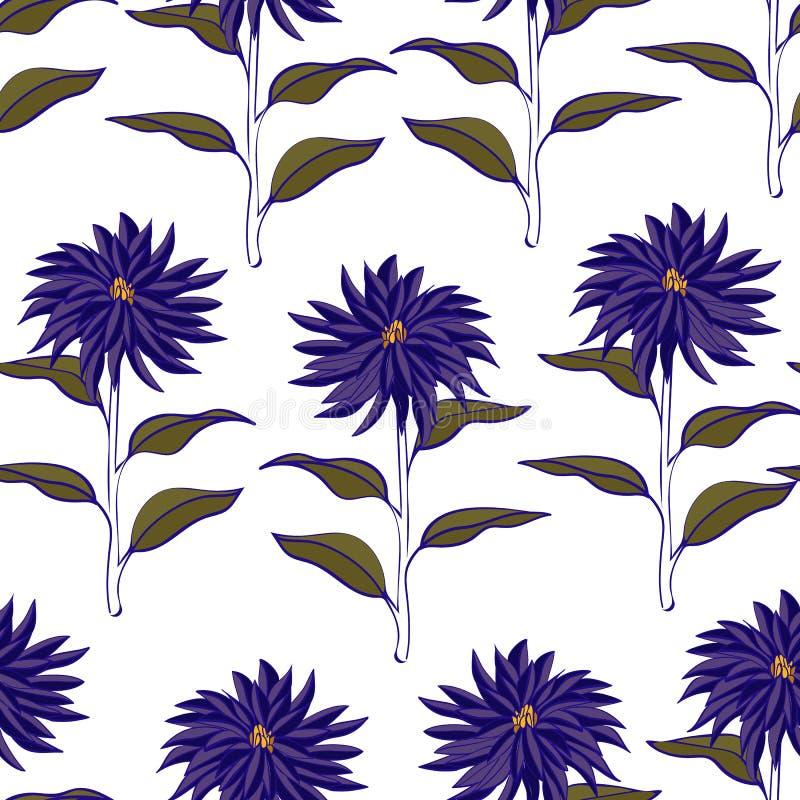 Violet Floral Repeat Print Pattern vibrante no vetor ilustração royalty free