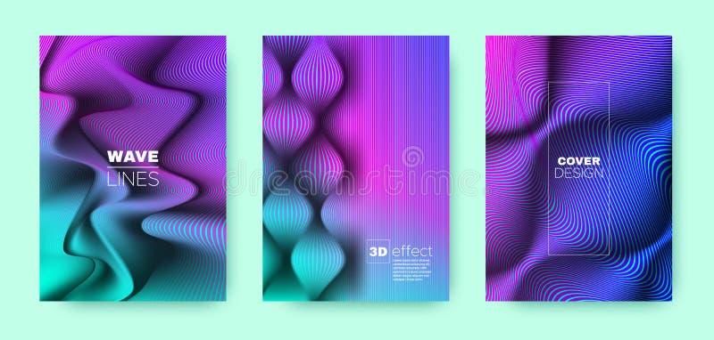Violet Flow Concept. Vector Cover. Business. Brochure. 3d Geometric Linear Texture. Fluid Concept. Violet Minimal Cover. Business Brochure. Wave Template stock illustration