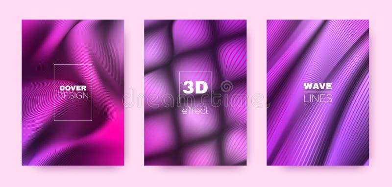 Violet Flow Cover. Pink Design Concept. Dynamic. Vibrant Stripes. 3d Geometric Brochure. Multicolor Vibrant Stripes. Flow Brochure. Minimal Cover. 3d Movement royalty free illustration