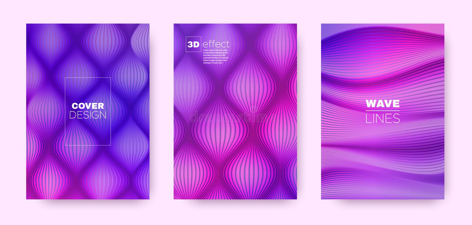 Violet Flow Cover. Pink Headline Concept. Dynamic. Distorted Texture. 3d Movement Brochure. Purple Distorted Texture. Fluid Background. Abstract Cover. 3d stock illustration