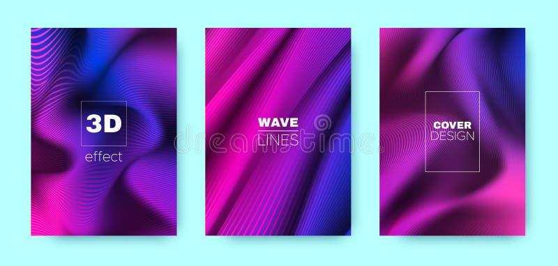 Violet Flow Poster. Design Cover. Pink Dynamic. Illustration. Blue 3d Geometric Halftone Texture. Flow Poster. Minimal Cover. Business Background. Wave Poster vector illustration