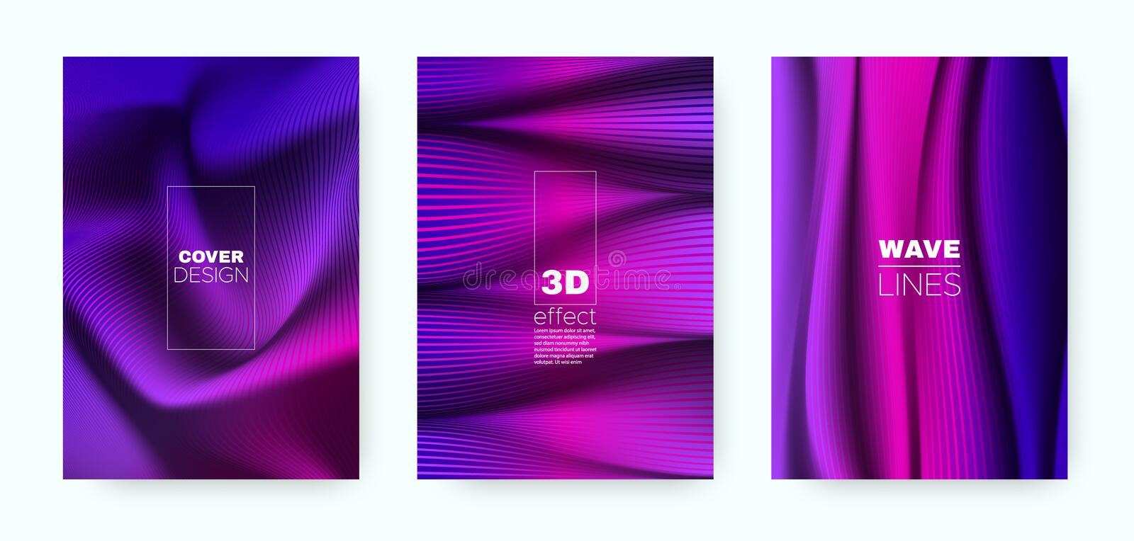 Violet Flow Poster. Headline Cover. Pink Business. Brochure. Vibrant 3d Movement Halftone Gradient. Fluid Poster. Design Cover. Dynamic Brochure. Flow Poster vector illustration