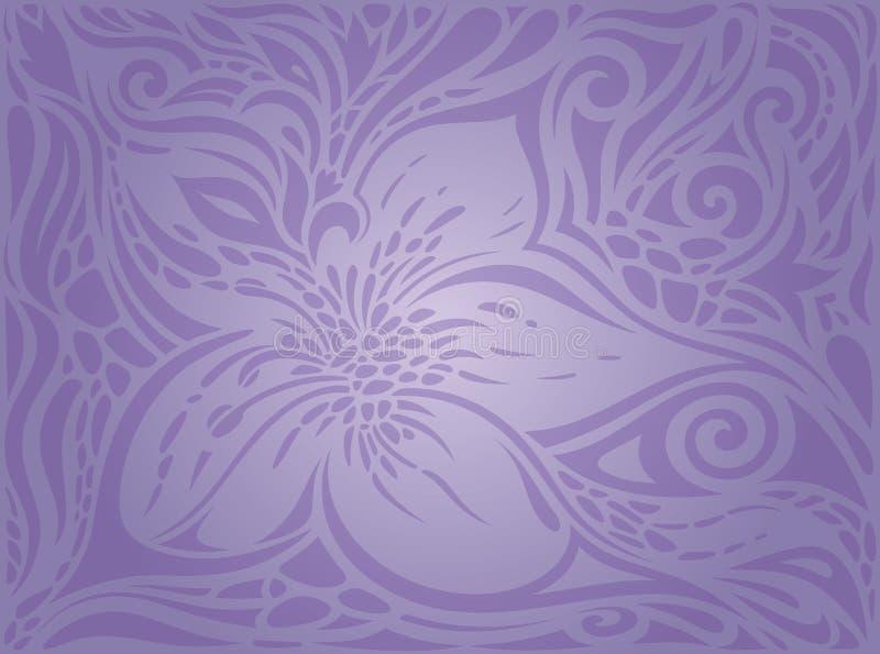 Violet Flowers, fundo floral sem emenda do teste padrão do vintage ilustração royalty free