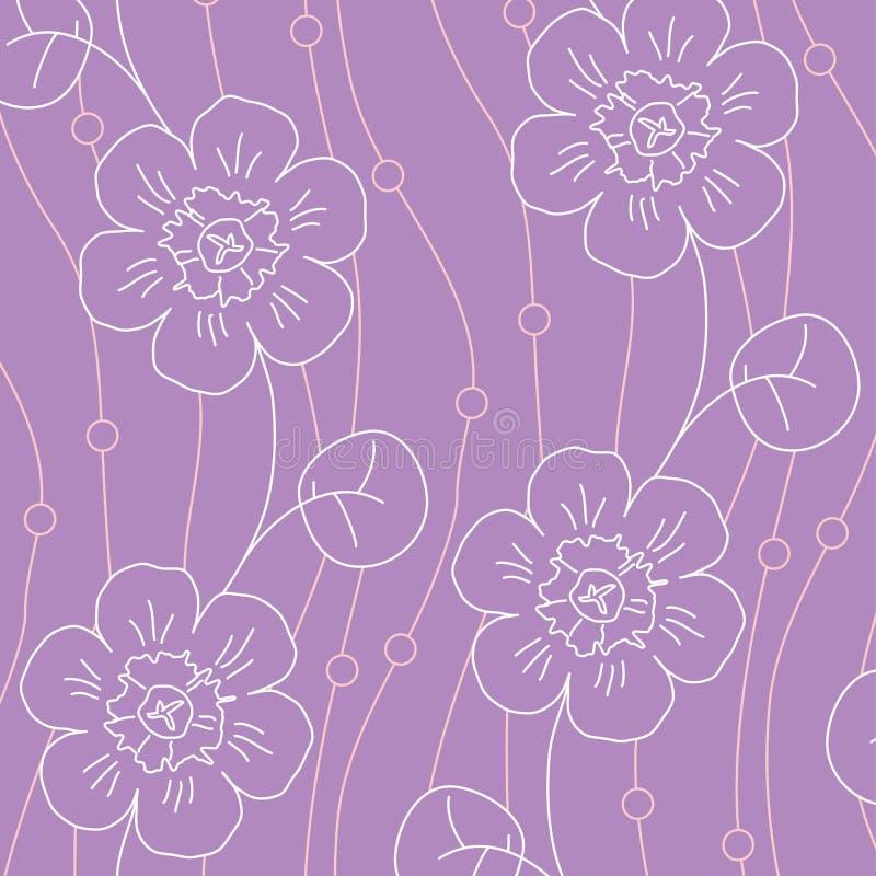 Violet flowers seamless pattern stock photo