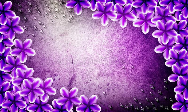Violet flowers with water drop grunge back ground royalty free illustration