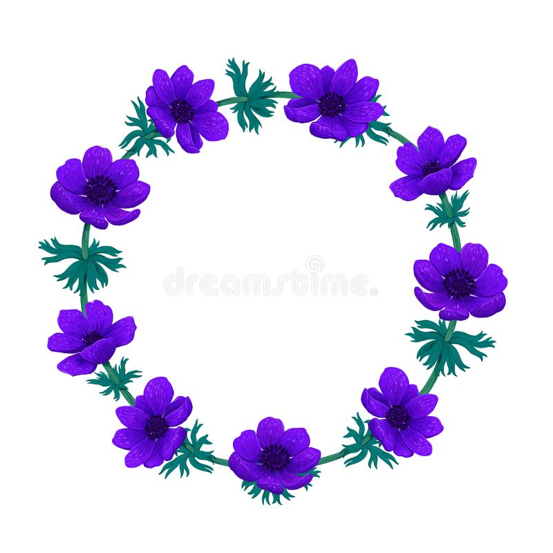 Violet flowers wreath. Beautiful blue anemones. Color pencil digital illustration. Collection of botanical design royalty free illustration